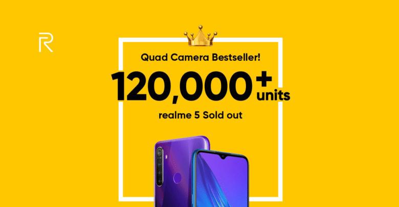 جهاز Realme 5 يحقق مبيعات قياسية في ظرف وجيز بالهند